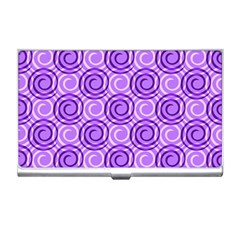 Purple And White Swirls Background Business Card Holder