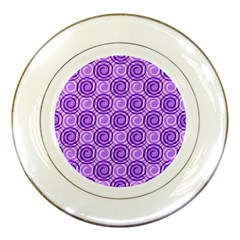 Purple And White Swirls Background Porcelain Display Plate