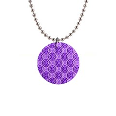 Purple And White Swirls Background Button Necklace