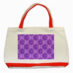 Purple And White Swirls Background Classic Tote Bag (Red)