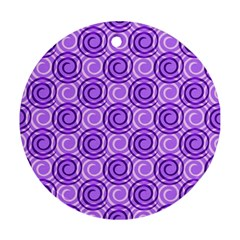 Purple And White Swirls Background Round Ornament (two Sides)