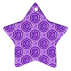 Purple And White Swirls Background Star Ornament (Two Sides)