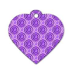 Purple And White Swirls Background Dog Tag Heart (Two Sided)