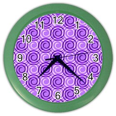 Purple And White Swirls Background Wall Clock (Color)