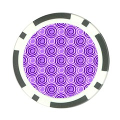 Purple And White Swirls Background Poker Chip