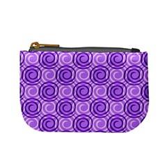 Purple And White Swirls Background Coin Change Purse