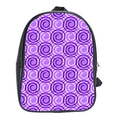 Purple And White Swirls Background School Bag (large)