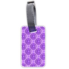Purple And White Swirls Background Luggage Tag (two Sides)