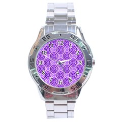 Purple And White Swirls Background Stainless Steel Watch