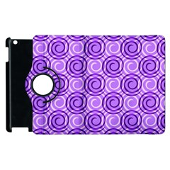 Purple And White Swirls Background Apple iPad 3/4 Flip 360 Case