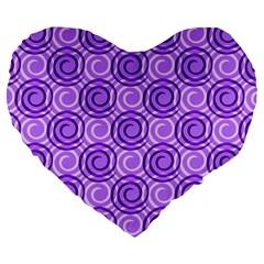 Purple And White Swirls Background 19  Premium Heart Shape Cushion