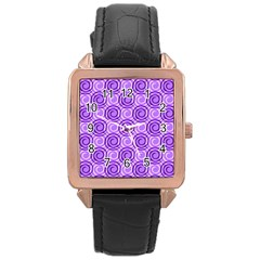 Purple And White Swirls Background Rose Gold Leather Watch