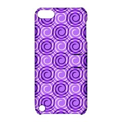 Purple And White Swirls Background Apple Ipod Touch 5 Hardshell Case With Stand