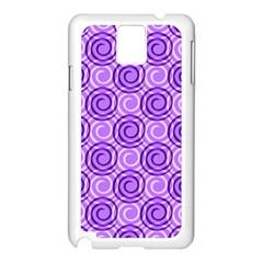 Purple And White Swirls Background Samsung Galaxy Note 3 N9005 Case (White)