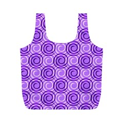 Purple And White Swirls Background Reusable Bag (M)