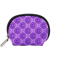 Purple And White Swirls Background Accessory Pouch (small)