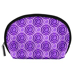 Purple And White Swirls Background Accessory Pouch (Large)