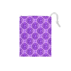 Purple And White Swirls Background Drawstring Pouch (small)