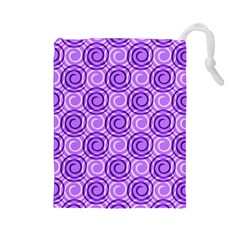 Purple And White Swirls Background Drawstring Pouch (large)