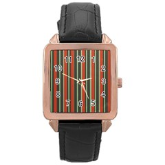 Festive Stripe Rose Gold Leather Watch