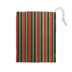 Festive Stripe Drawstring Pouch (Large)