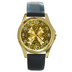 Golden sequins and bow Round Leather Watch (Gold Rim)
