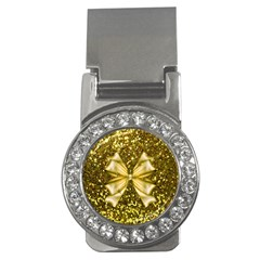 Golden Sequins And Bow Money Clip (cz)