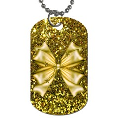 Golden Sequins And Bow Dog Tag (two Sided)