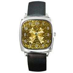 Golden Sequins And Bow Square Leather Watch
