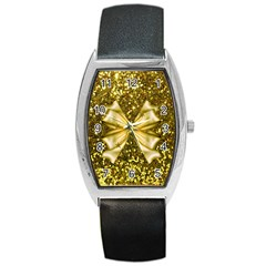 Golden Sequins And Bow Tonneau Leather Watch