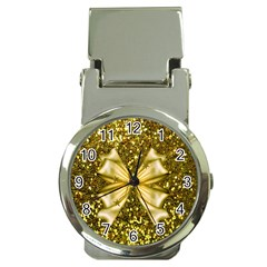 Golden Sequins And Bow Money Clip With Watch