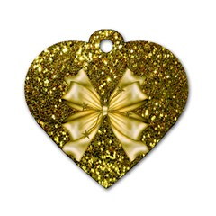 Golden Sequins And Bow Dog Tag Heart (one Sided)