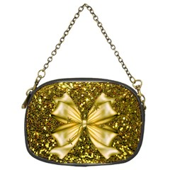 Golden Sequins And Bow Chain Purse (two Sided)