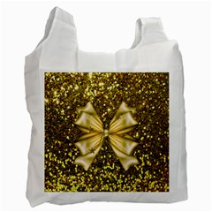 Golden Sequins And Bow White Reusable Bag (two Sides)