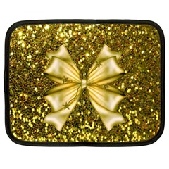 Golden Sequins And Bow Netbook Sleeve (xl)