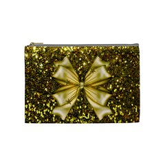 Golden Sequins And Bow Cosmetic Bag (medium)