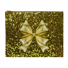Golden Sequins And Bow Cosmetic Bag (xl)