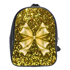 Golden Sequins And Bow School Bag (large)