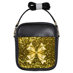 Golden Sequins And Bow Girl s Sling Bag