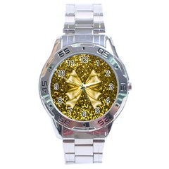 Golden Sequins And Bow Stainless Steel Watch