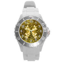 Golden Sequins And Bow Plastic Sport Watch (large)
