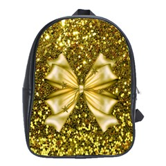 Golden Sequins And Bow School Bag (xl)