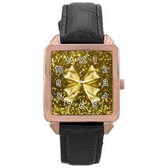 Golden sequins and bow Rose Gold Leather Watch
