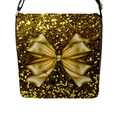 Golden Sequins And Bow Flap Closure Messenger Bag (large)