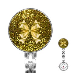 Golden sequins and bow Stainless Steel Nurses Watch