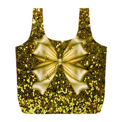 Golden sequins and bow Reusable Bag (L)