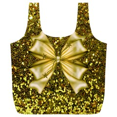Golden sequins and bow Reusable Bag (XL)