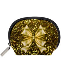 Golden sequins and bow Accessory Pouch (Small)