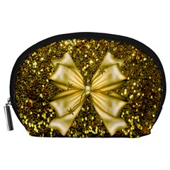 Golden sequins and bow Accessory Pouch (Large)