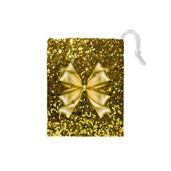 Golden sequins and bow Drawstring Pouch (Small)